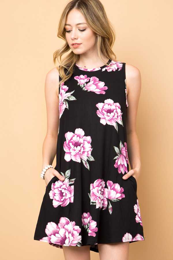 FLORAL PRINT KEYHOLE DRESS