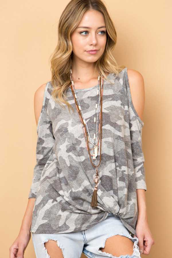 CAMOUFLAGE COLD SHOULDER TOP WITH FRONT KNOT DETAIL