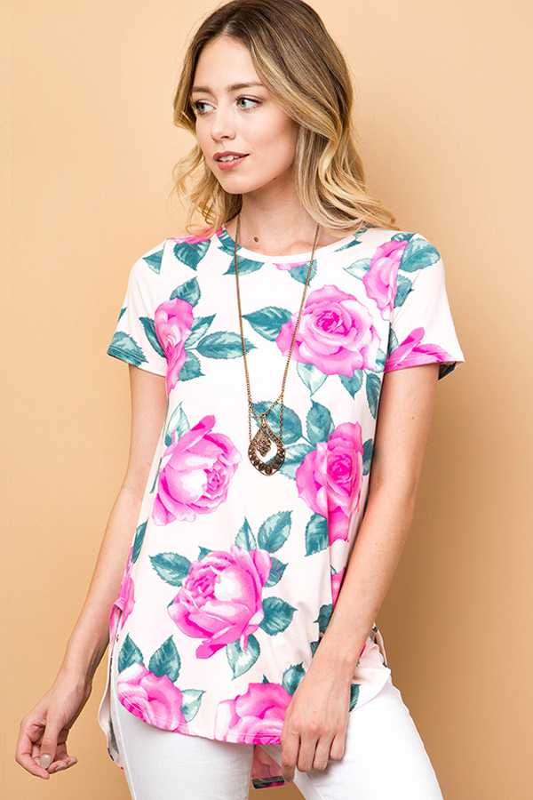FLORAL PRINT SHORT SLEEVE ROUND HEM TUNIC TO
