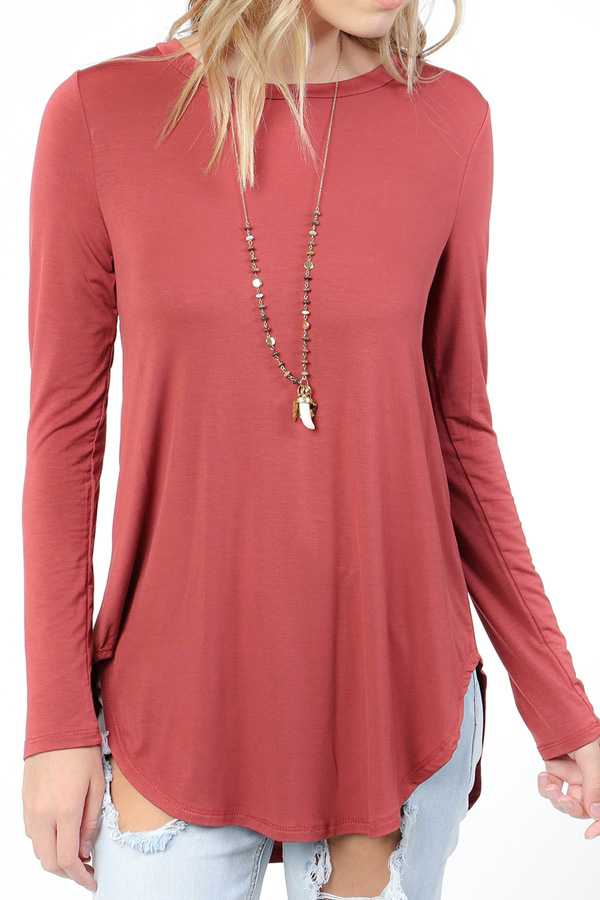 SOLID MODAL ROUND HEM TUNIC TOP