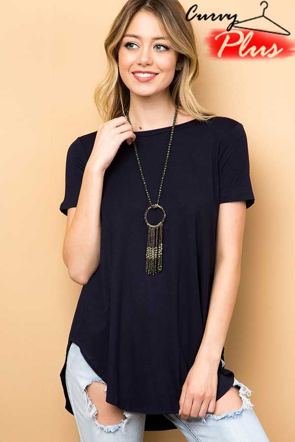 SOLID SHORT SLEEVE ROUND HEM TUNIC TOP