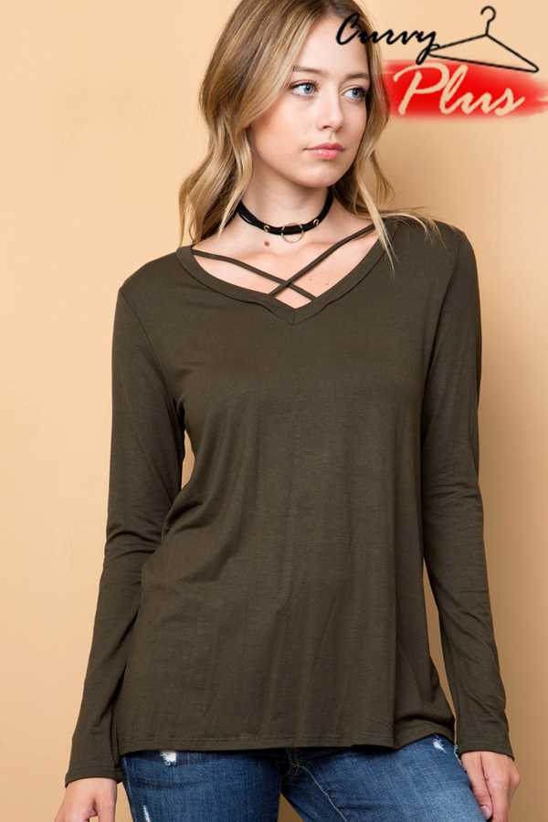 SOLID CRISS-CROSS V-NECK TUNIC TOP