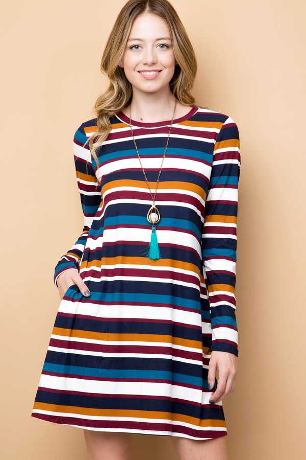 MULTI-COLORED STRIPED SWING DRESS