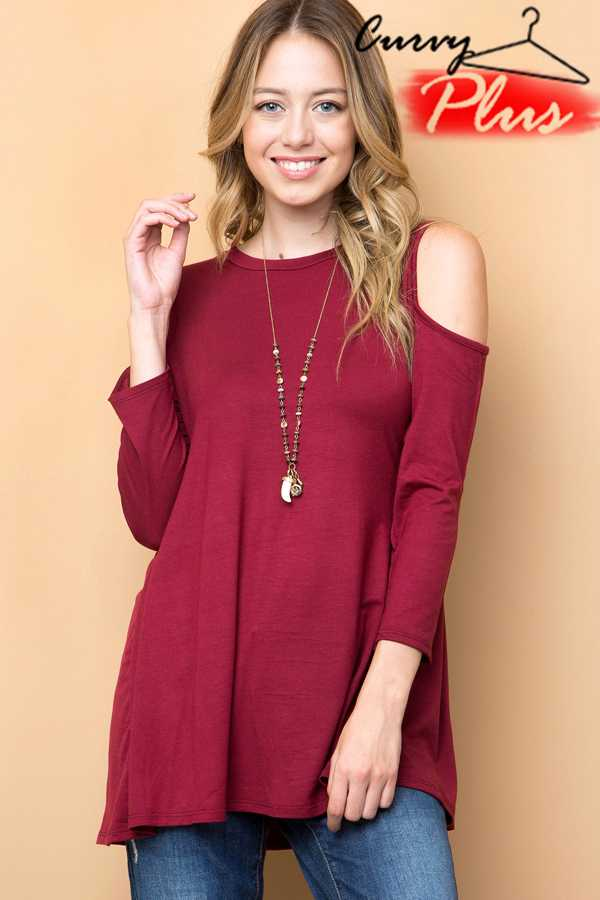 SOLID COLD SHOULDER TUNIC