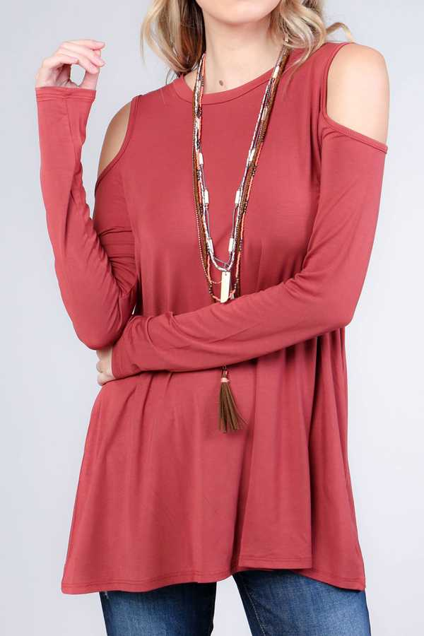 SOLID MODAL COLD SHOULDER TUNIC