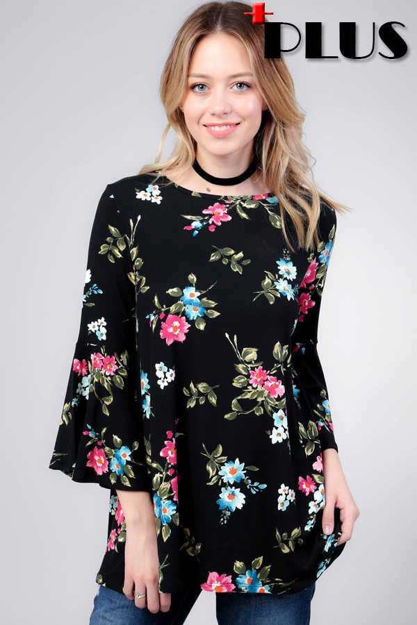 FLORAL PRINT BELL SLEEVE TUNIC TOP