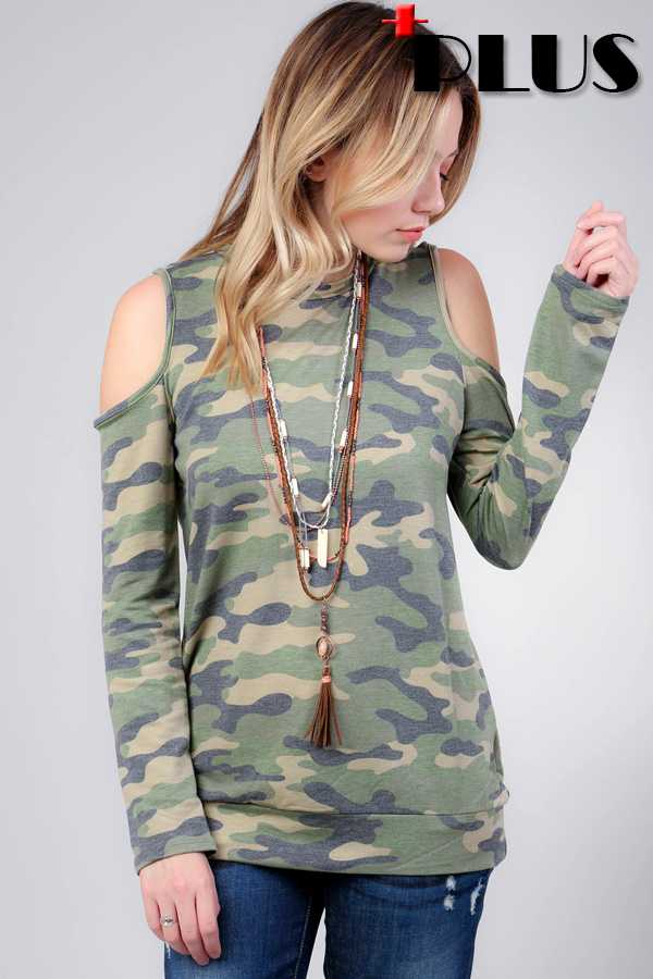 PLUS SIZE CAMOUFLAGE FRENCH TERRY COLD SHOULDER TOP