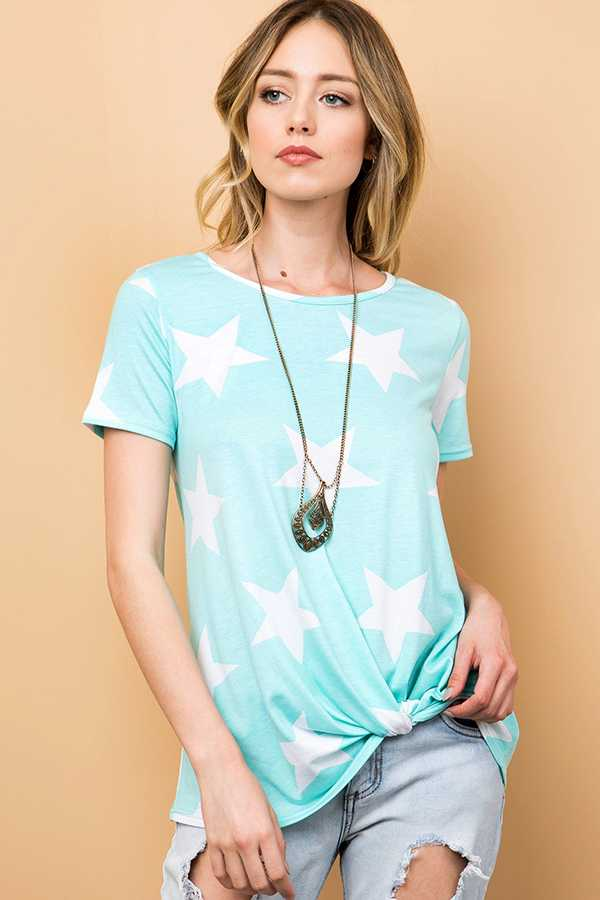 STAR PRINT TOP WITH KNOT DETAIL