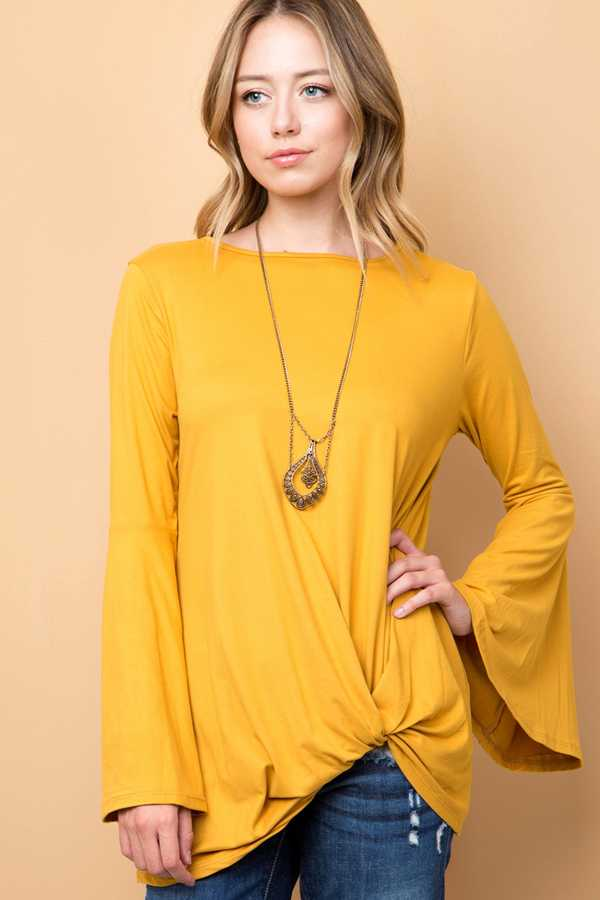 SOLID BELL SLEEVE TOP WITH FRONT KNOT DETAIL