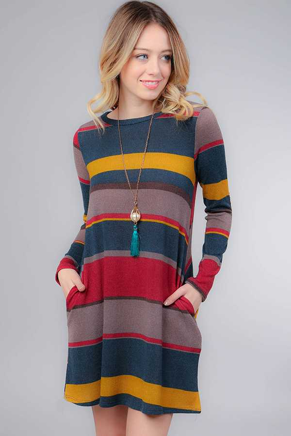 STRIPED MIDI DRESS WITH ELBOW PATCH