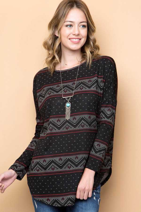 FAIR ISLE PRINT LOOSE TUNIC TOP