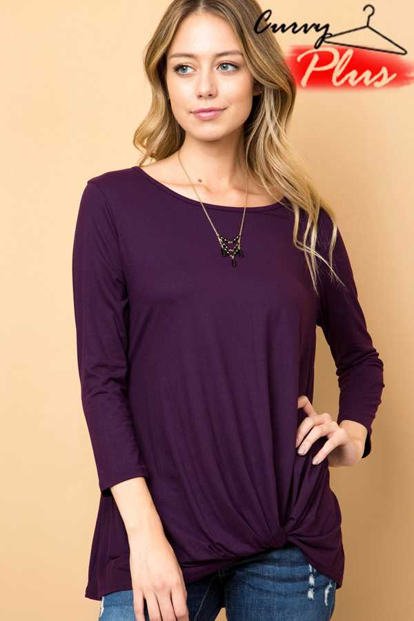 SOLID ROUND NECK FRONT KNOT DETAIL TOP