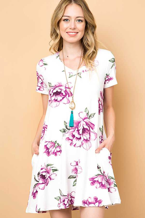 FLORAL V-NECK SWING DRESS