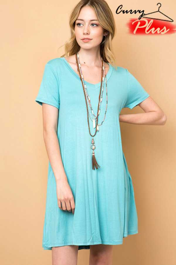 SOLID V-NECK SWING DRESS