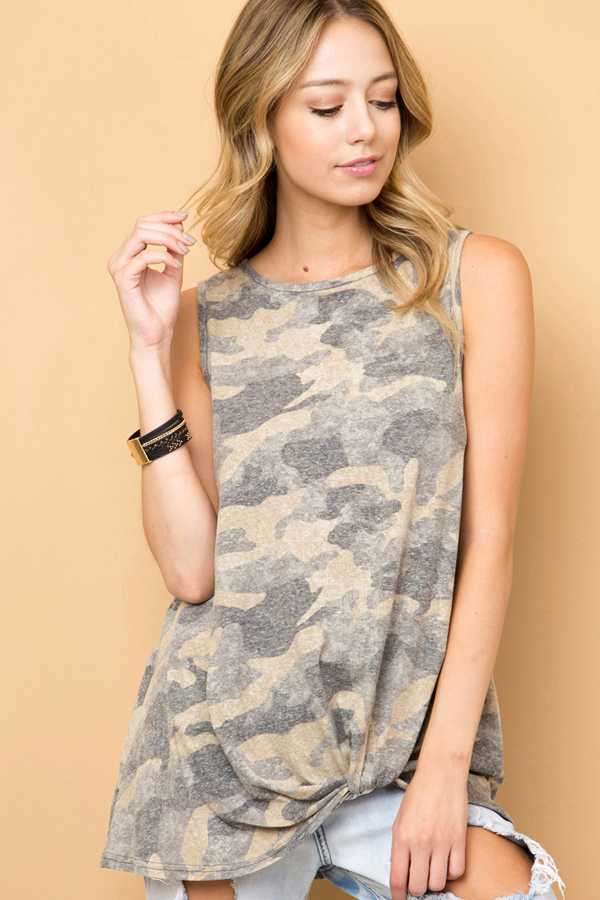 CAMOUFLAGE PRINT SLEEVELESS TOP WITH FRONT KNOT DETAIL