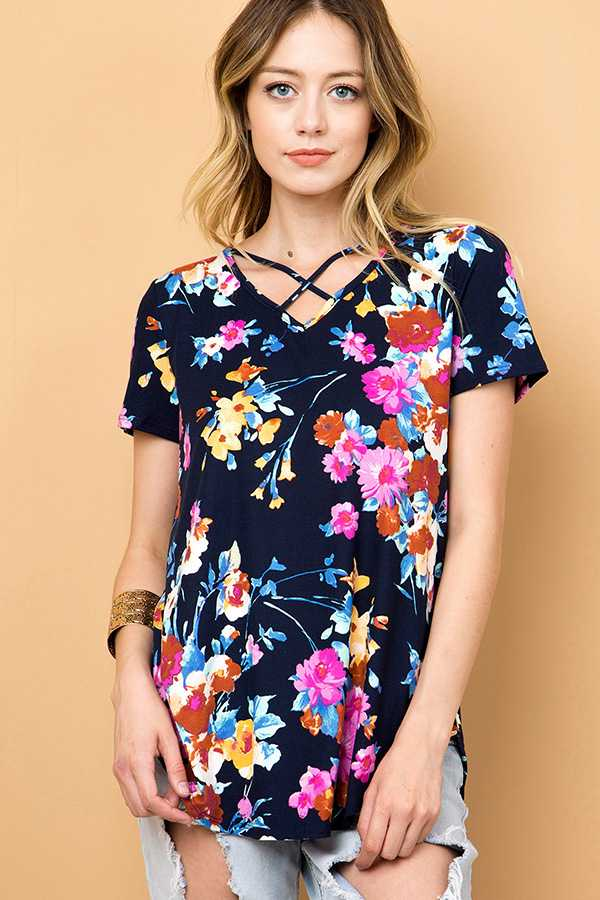 FLORAL CRISSCROSS V-NECK TUNIC