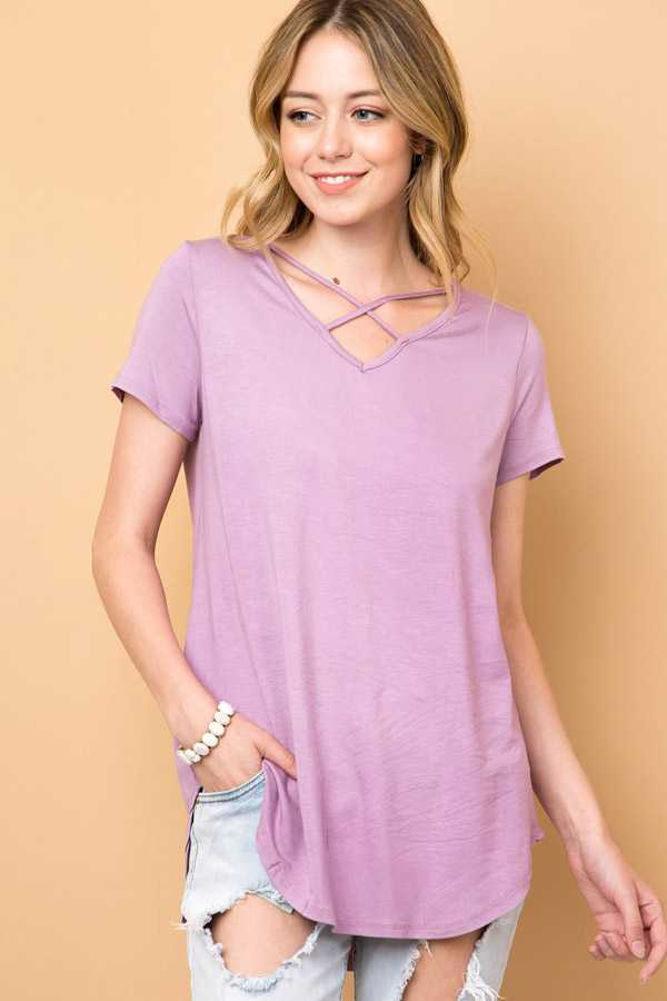 SOLID CRISSCROSS V-NECK TUNIC