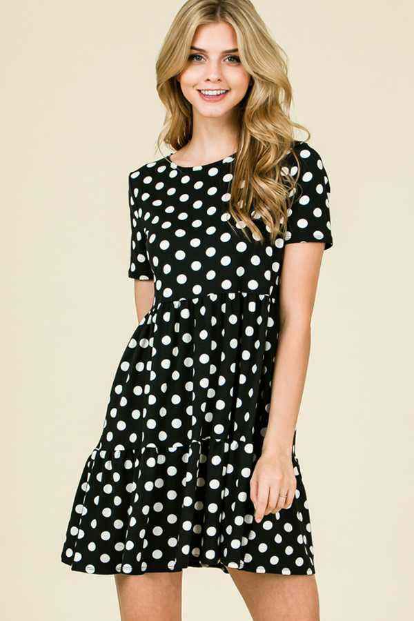 POLKADOT PRINT LAYERED DRESS