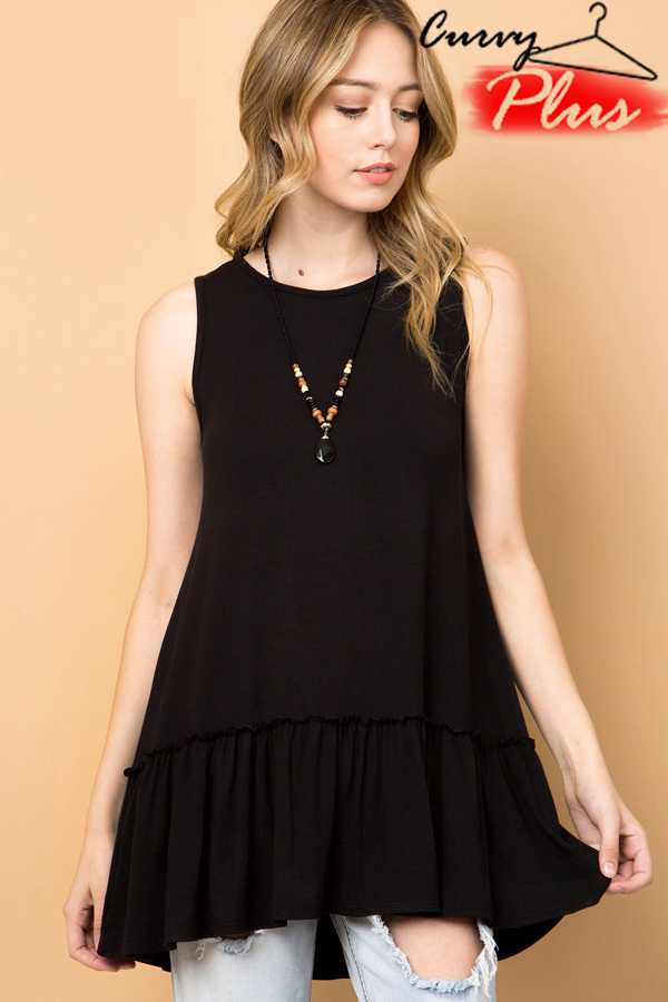 SOLID RUFFLE HEM SLEEVELESS TUNIC