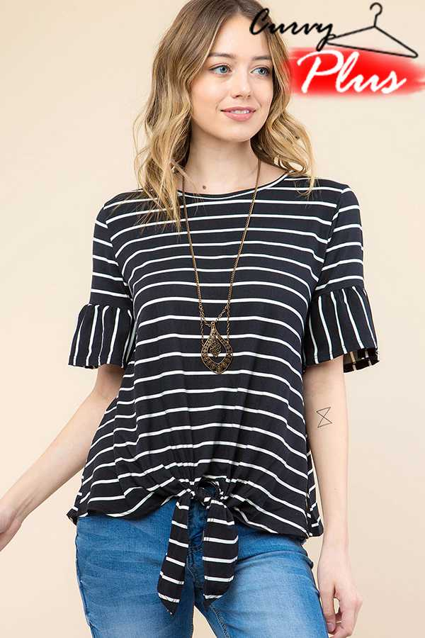 b688d72c8e9a PLUS SIZE STRIPED RUFFLE TOP WITH FRONT TIE