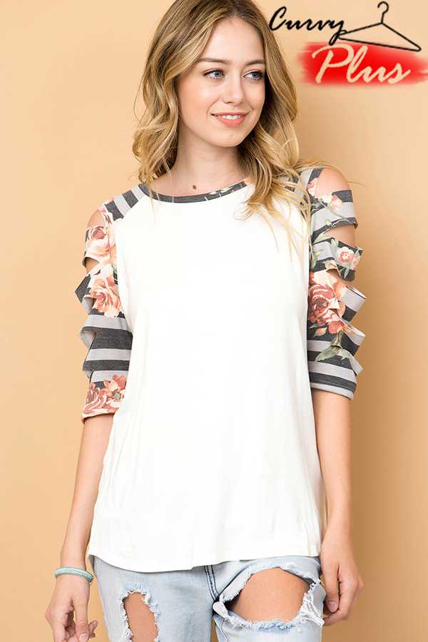 FLORAL STRIPE RAGLAN TOP WITH LASER CUT