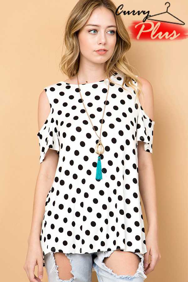 POLKADOT COLD SHOULDER TOP