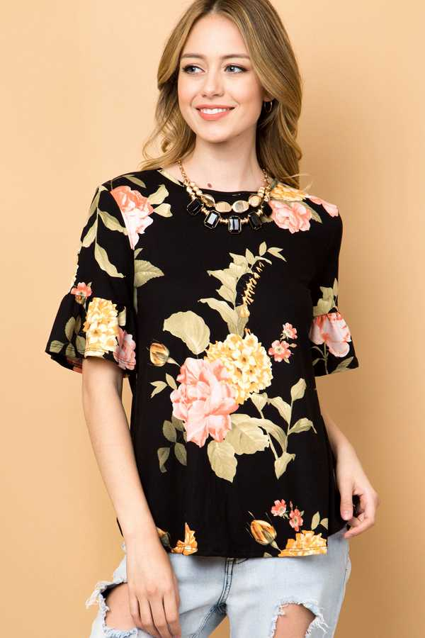 FLORAL PRINT RUFFLE BELL SLEEVE TOP