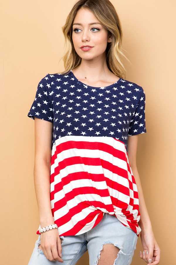 AMERICAN FLAG FRONT KNOT DETAIL TOP