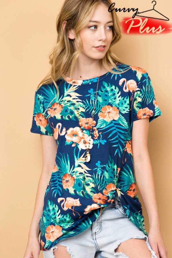 TROPICAL FLORAL PRINT TOP WITH FRONT KNOT