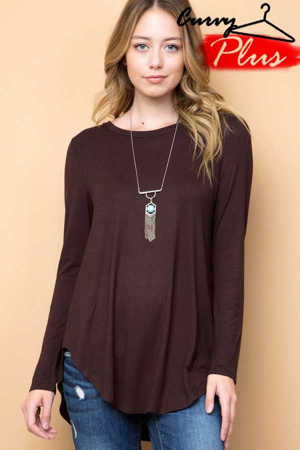 SOLID ROUND HEM TUNIC TOP