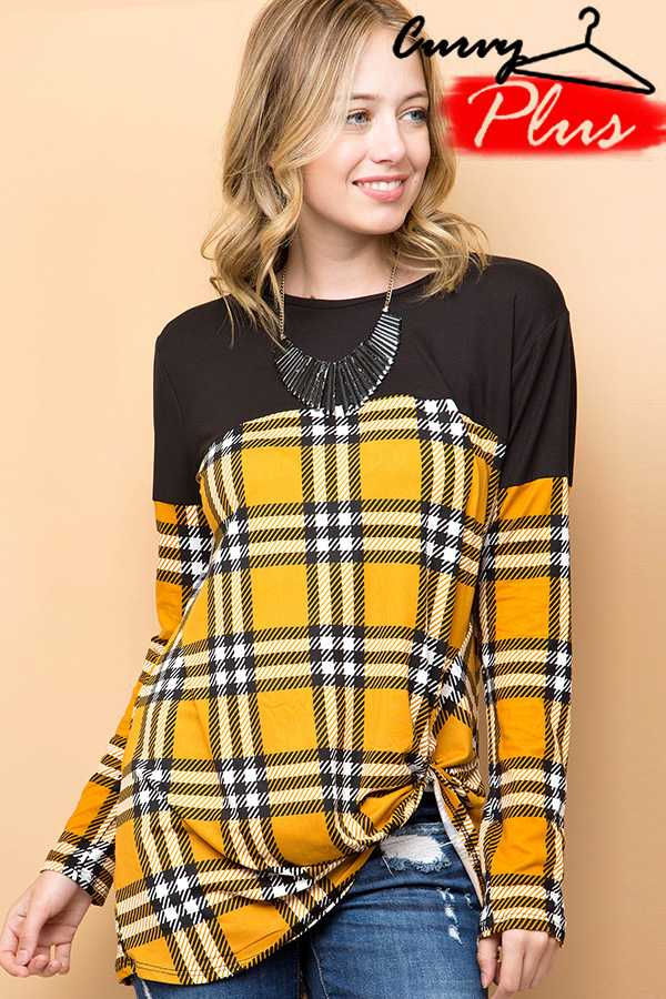 PLAID PRINT FRONT KNOT TOP