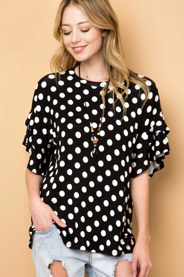 POLKADOT DOUBLE LAYERED SLEEVE TOP