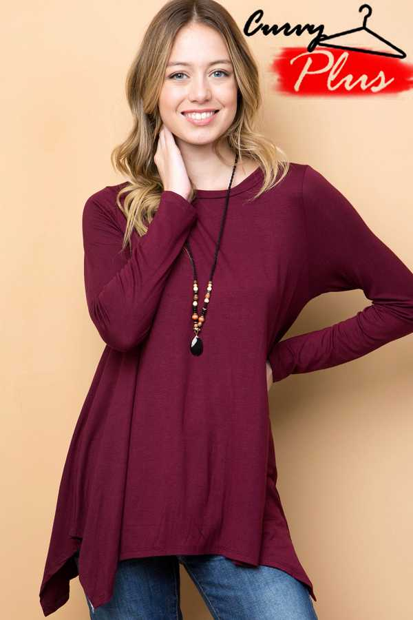 SOLID ROUND NECK HANDKERCHIEF TUNIC