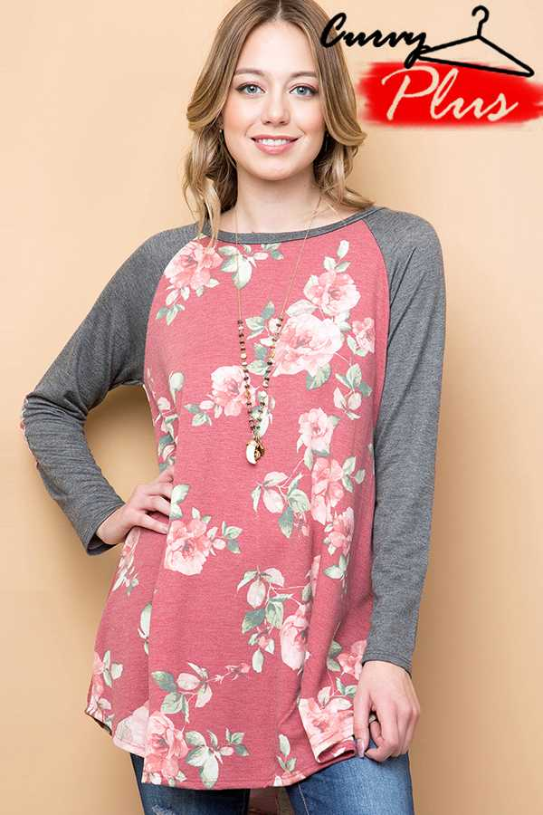 FLORAL PRINT LOOSE TOP WITH ELBOW PATCH
