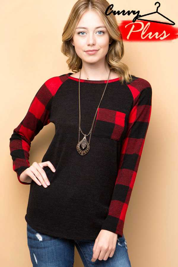 PLAID PRINT CONTRAST POCKET TOP