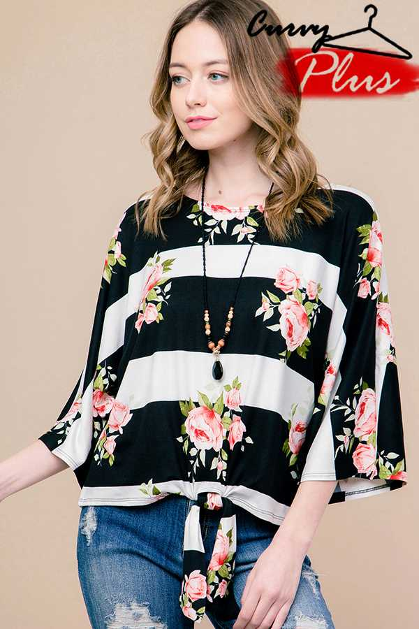 FLORAL & STRIPE VOLUME SLEEVE TOP