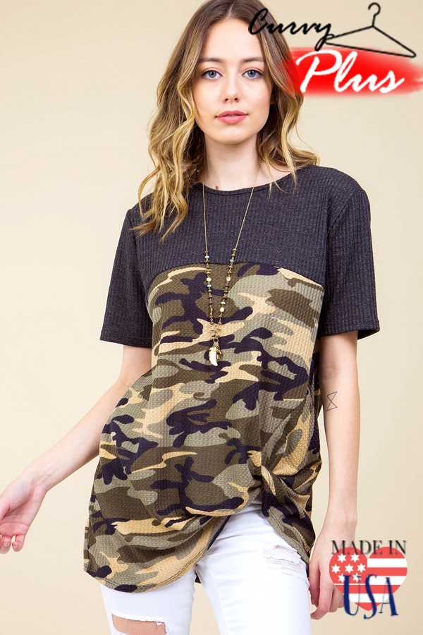 CAMOUFLAGE PRINT WAFFLE FRONT KNOT TOP