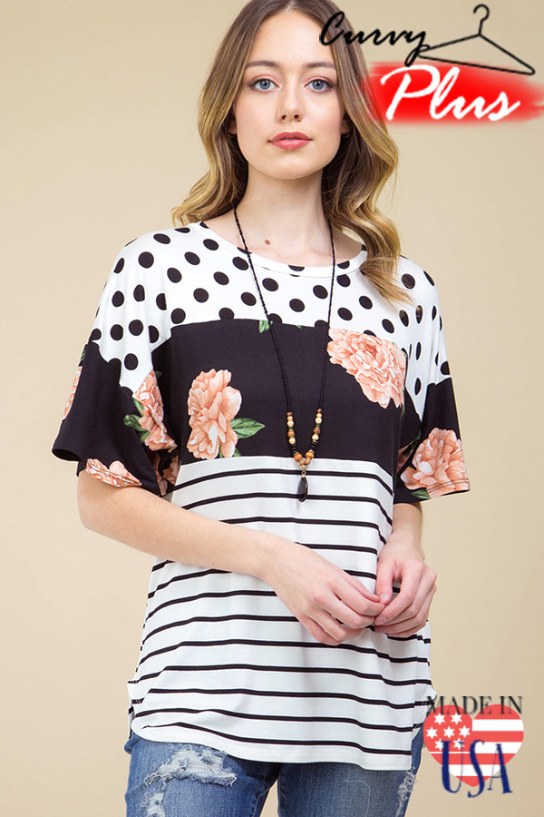 [PRE-ORDER 3/21/19] FLORAL PRINT BLOCK WITH DOT & STRIPE PRINT T