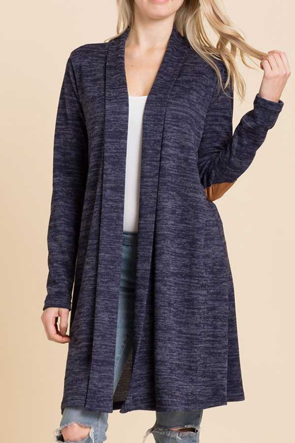 BRUSHED HACCI KNIT ELBOW PATCH SOLID CARDIGAN
