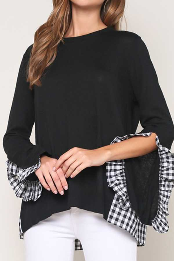 SOLID CONTRAST PLAID TRIM RUFFLED SLEEVE KNIT TOP