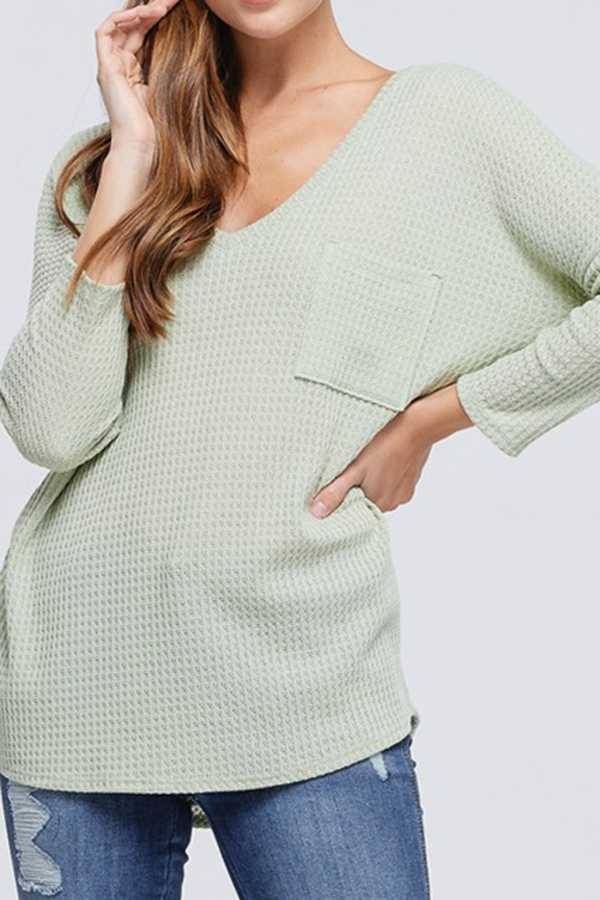 THERMAL SOLID V-NECK KNIT TOP