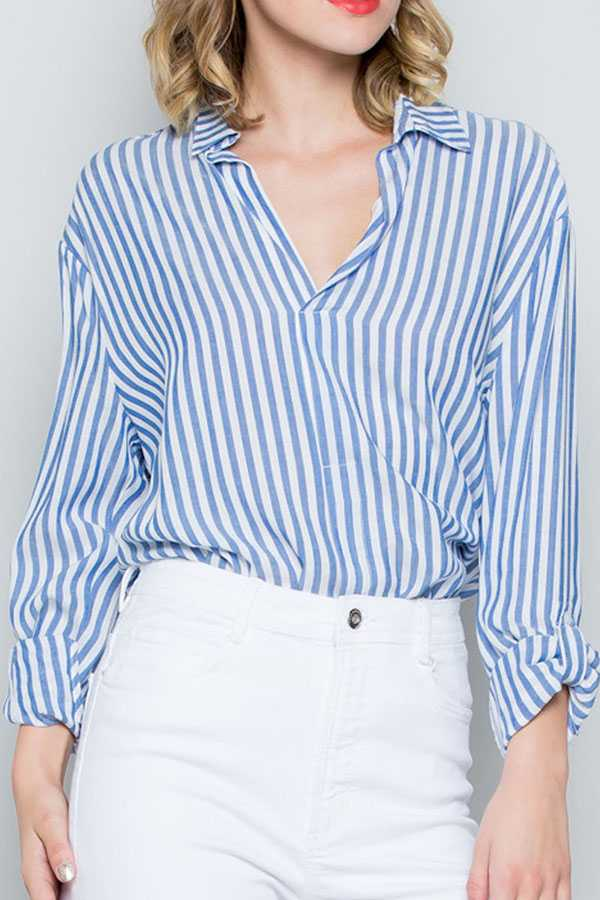 STRIPED PRINT BUTTON-UP SHIRT