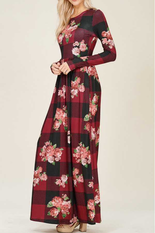 CHECK FLORAL PRINT FIT & FLARE MAXI DRESS