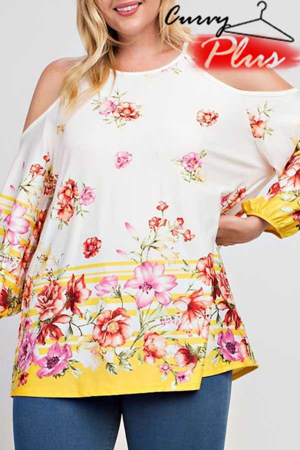 FLORAL PRINT COLD SHOULDER TOP