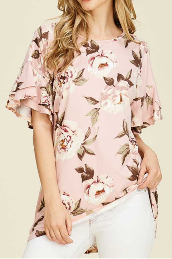 [PREORDER 06/15/18] FLORAL PRINT RUFFLE SLEEVE TOP