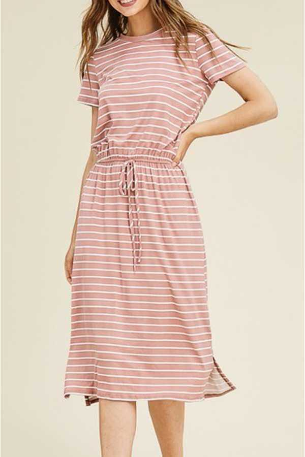 STRIPED PRINT MIDI DRESS
