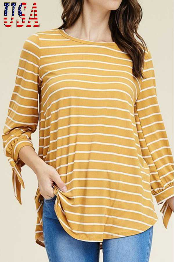 STRIPED PRINT ROUND NECK TOP