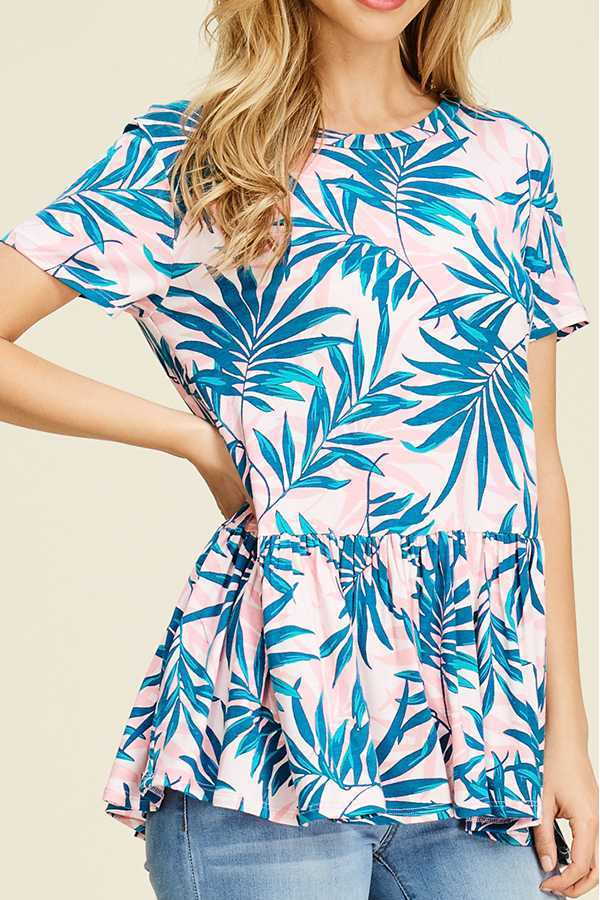 TROPICAL PRINT PEPLUM TOP