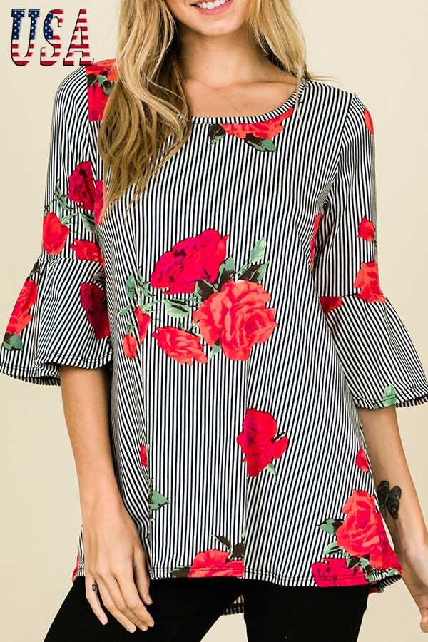 COMBO PRINT BELL SLEEVE TOP