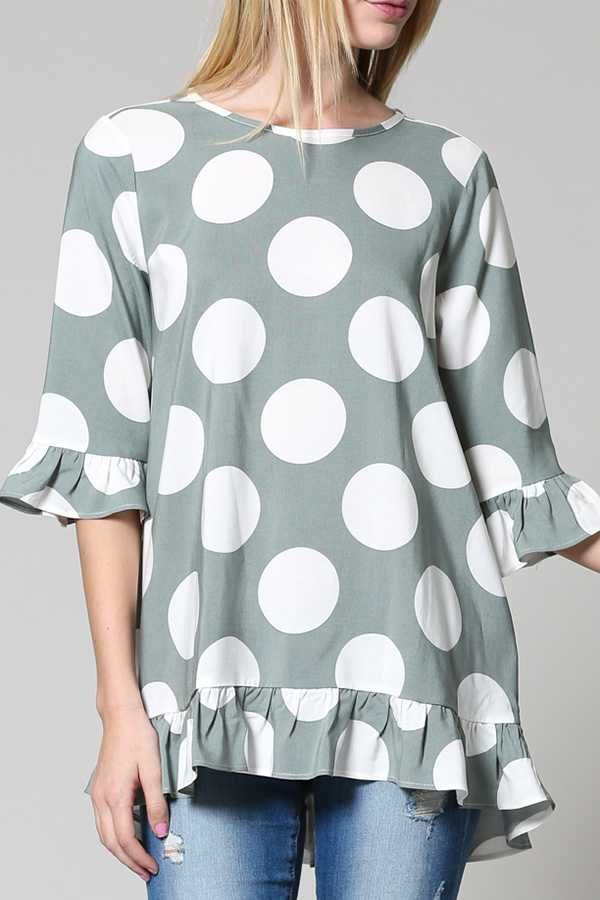 POLKA DOTTED BELL SLEEVE TOP